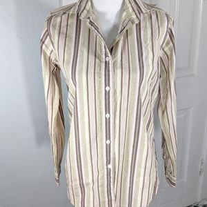 Facconable Women's Small Button Up Blouse Striped